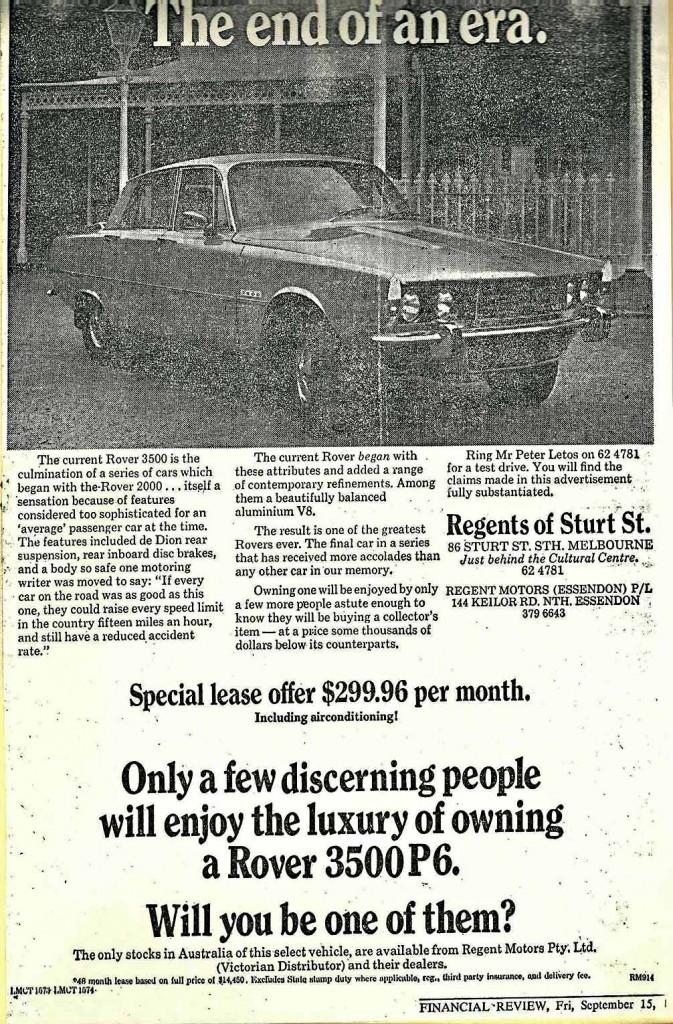 Regent-Motors-P6B-Ad-1978